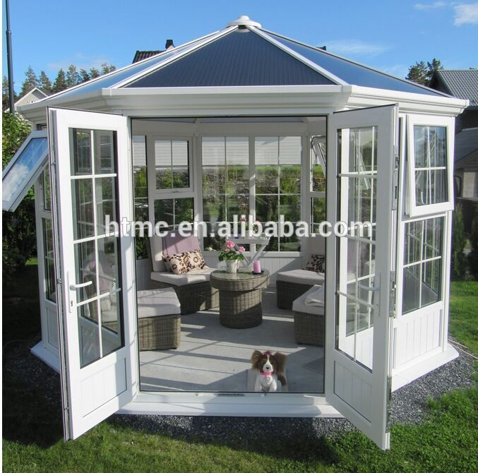 creative fashion design aluminum glass house sunroom with double