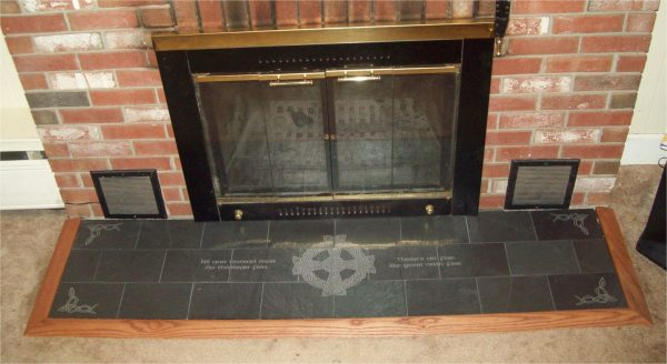 Creative Handmade Engraved Slate Fireplace Hearth With Celtic And Medium