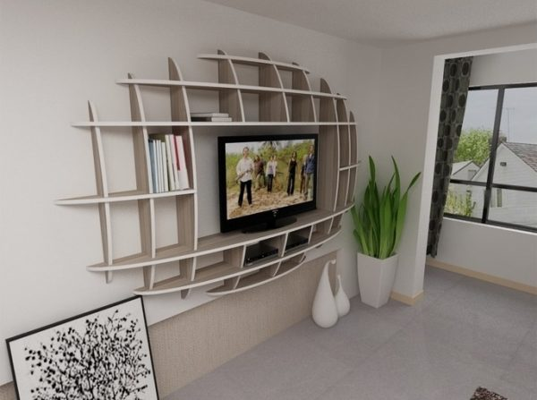 Creative Impressive Design Of Wall Shelves Tv Units For Living Room Medium