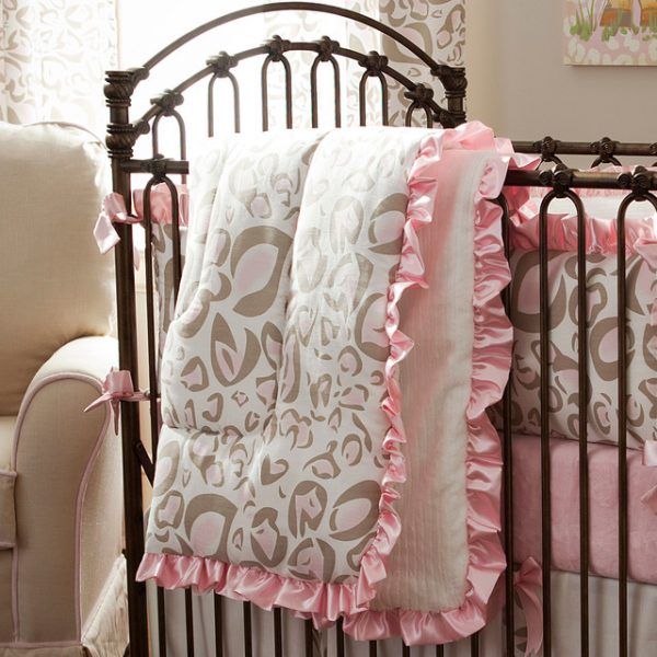 Creative Pink And Taupe Leopard Crib Comforter Traditional Baby Medium