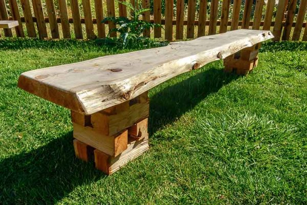 Example Of A Cedar Slab Bench W  Crib Base Orcas Workshop Medium