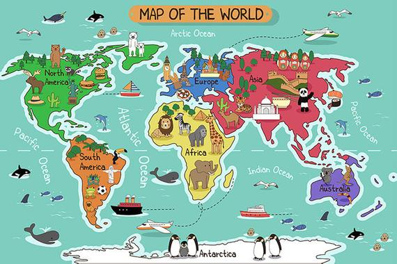Example Of A Childrens World Map Wallpaper Removable Wall Mural Animal Medium
