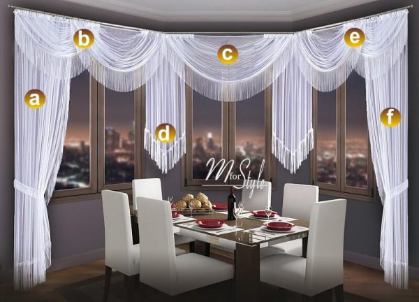 Example Of A Choice Of Swags   Tails Net Sheer Curtain Swag Pelmet Medium