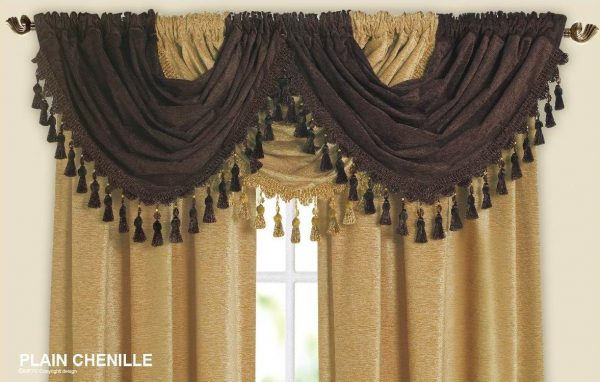 Example Of A Designer Curtain Swag Chenille Fabric With Beaded Tassels Medium