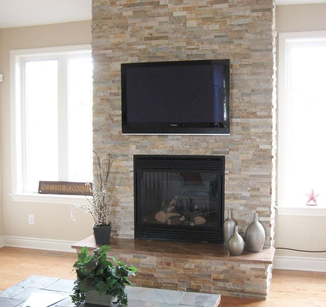 Example Of A F9f17 Houzz With Tv Refacing A Fireplace From Brick