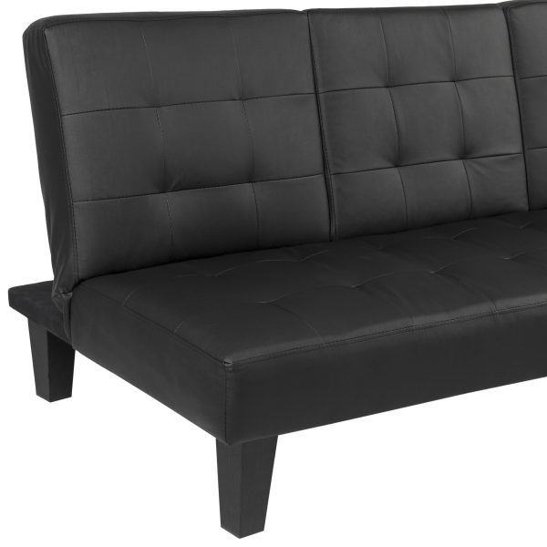 example of a faux leather futon sofa bed fold up couch recliner lounger medium
