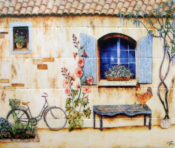 Example Of A French Country Kitchen Backsplash Tiles Wall Murals Medium