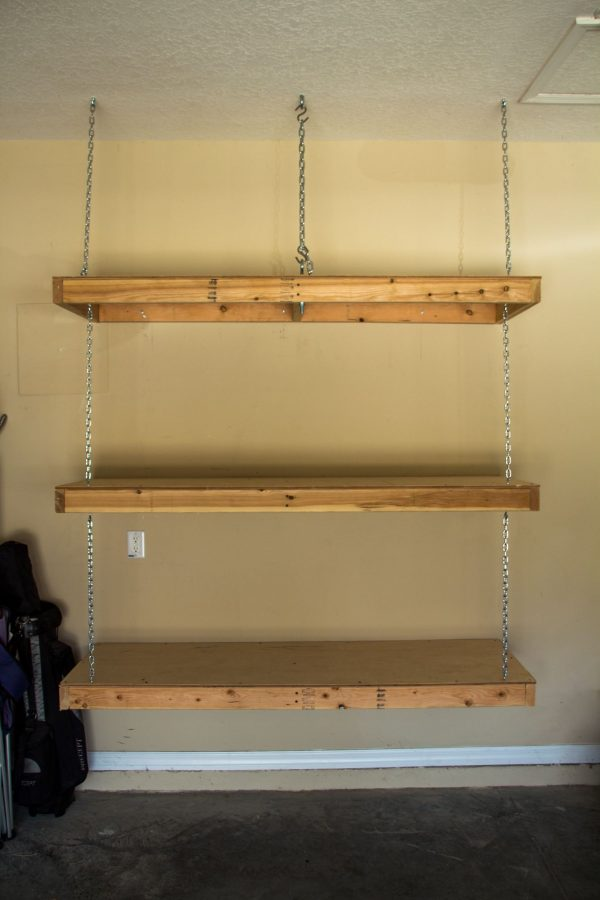 Example Of A Hanging Garage Shelves Eye Bolt In Ceiling Goes Through Medium