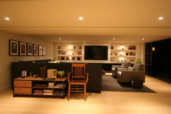 Example Of A Interior Design Contemporary Basement Burlington Medium