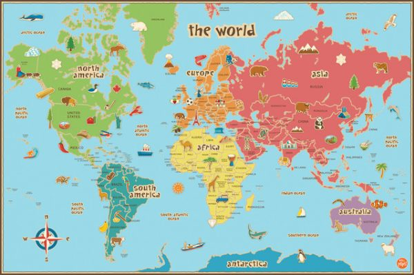 Example Of A Kids Dryerase World Map Wall Decal Contemporary Kids Medium