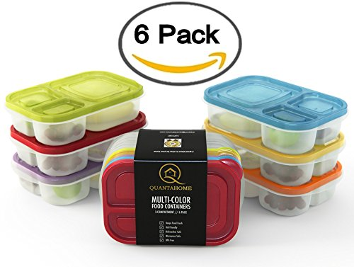 Example Of A Multicolor 6 Pack 3 Compartment Reusable Food Storage Medium