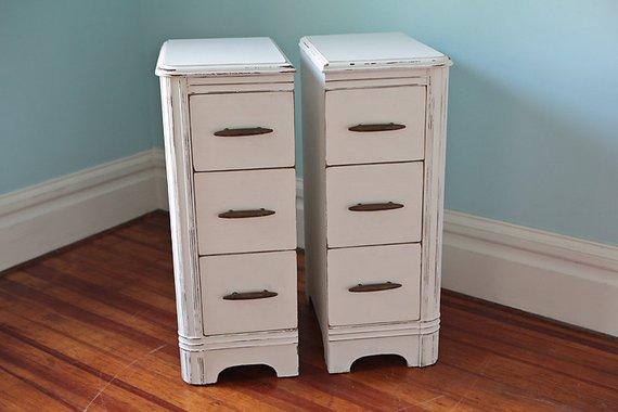 Example of a Narrow Pair Nightstand S Shabby Chic White Cottage Antique