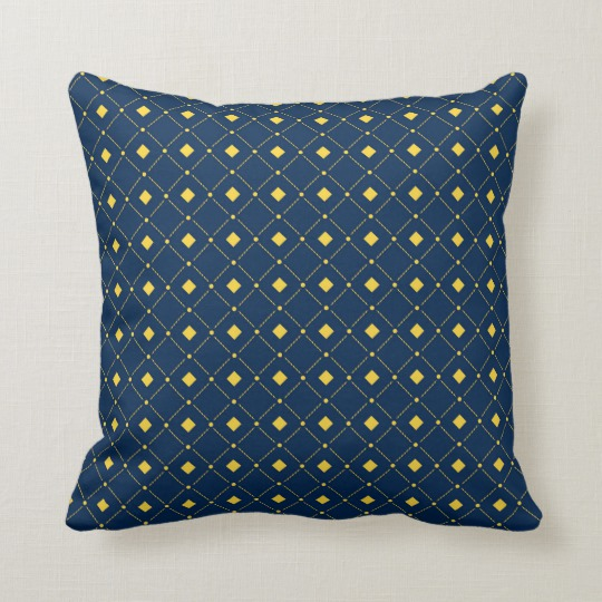 Example Of A Navy Blue And Yellow Retro Squares Diamonds Throw Pillow Medium