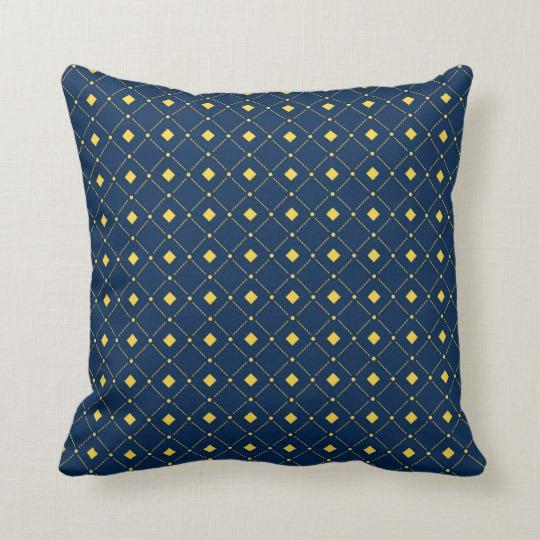 Example Of A Navy Blue And Yellow Retro Squares Diamonds Throw Pillow Medium
