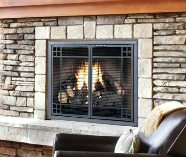 Example Of A Noteworthy Glass Door Wood Stove Prefab Fireplace Doors Medium