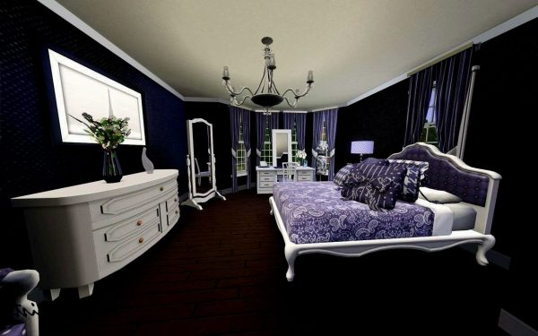 Example Of A Purple And Black Bedroom Home Design Medium