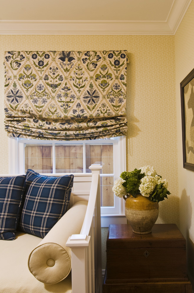 example of a roman shades outside mount dining room contemporary with