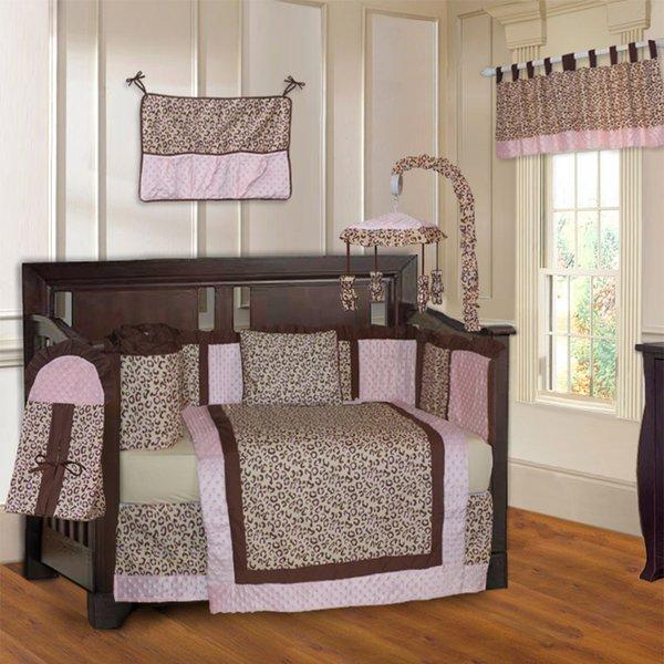 example of a shop babyfad leopard pink 10piece crib bedding set free