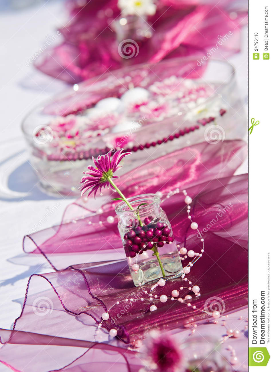 example of a table decoration for a summer garden party stock photo