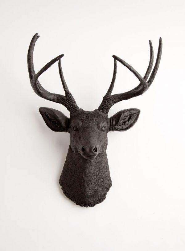 Example Of A The Ignatius Black Resin Deer Head Stag Resin White Medium