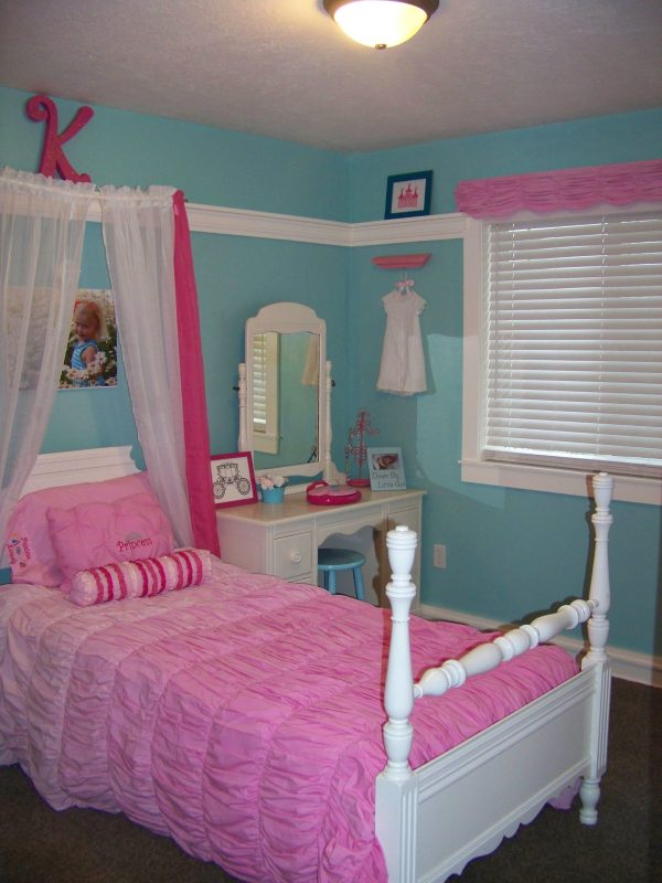 Example Of A Turquoise And Pink Girl Princess Room Kennedys Room Medium