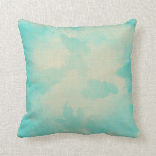 Example Of A Watercolor Light Blue And Yellow Throw Pillowzazzle Medium