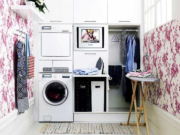 Explore Cute Laundry Room Design With Wallpaper Medium