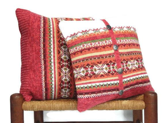 Explore Knitted Pillow Covers Fair Isle Up Cycled Sweater Rust 14 And Medium