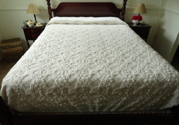 Explore Natural Ecru Vintage Chenille Bedspread With Pearls And Medium