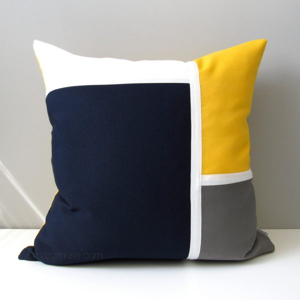 Explore Navy Blue   Yellow Outdoor Pillow Cover Modern Nautical Medium