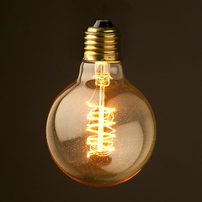 explore vintage edison round spiral tungsten filament bulb