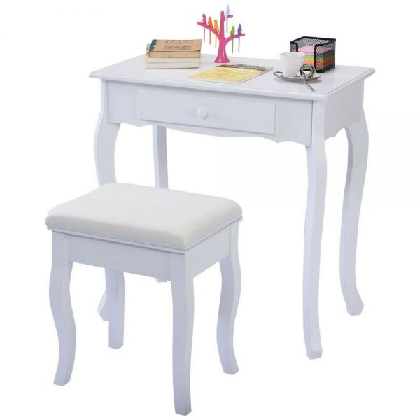 Explore White Vanity Table Jewelry Makeup Desk Bench Dresser W Medium
