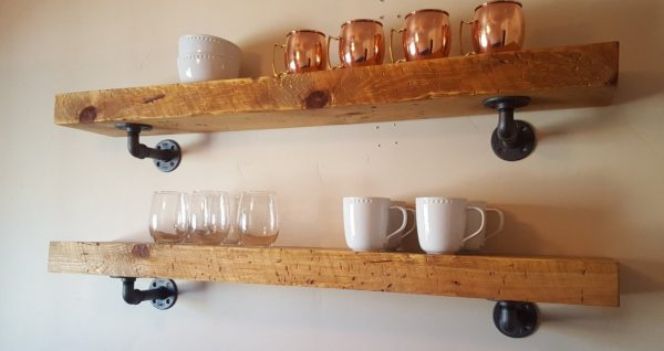 Fresh 3 Thick Solid Wood Shelves With Pipe Supports Open