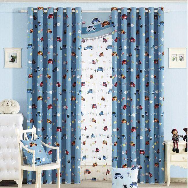 fresh custom blue cartoon car boys room nursery curtains