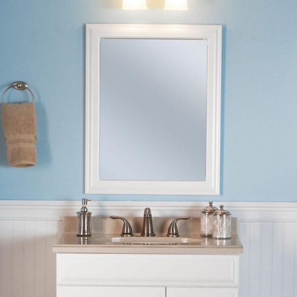 Fresh Framed Wall Hanging Bathroom Mirror 24 In X 30 In Bath
