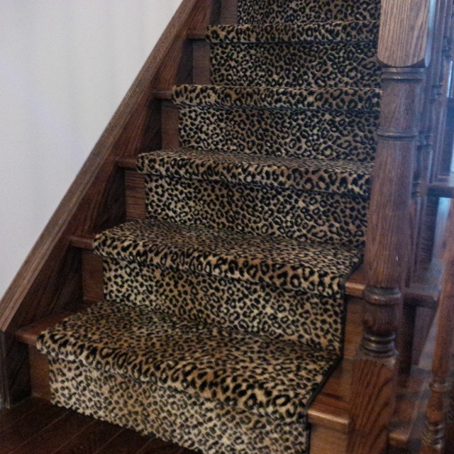 fresh leopard print stair runner traditional staircase
