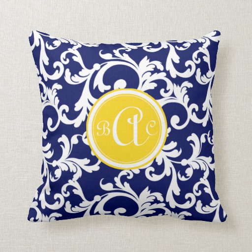fresh navy blue and yellow monogrammed damask print throw pillow