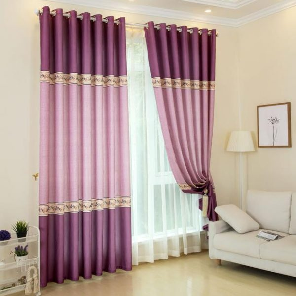 Fresh Pink And Purple Floral Beautiful Romantic Curtains For Medium
