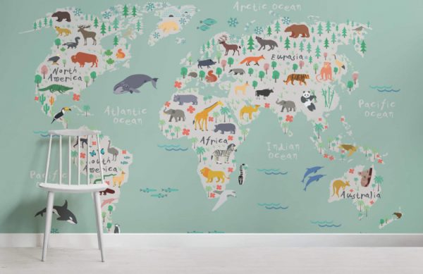 Fresh Safari Kids Map Mural Wallpapermuralswallpapercouk Medium