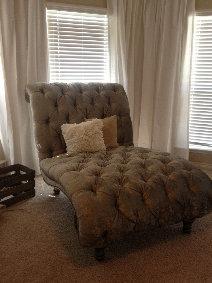 fresh tufted double chaise lounge chair in our master bedroom