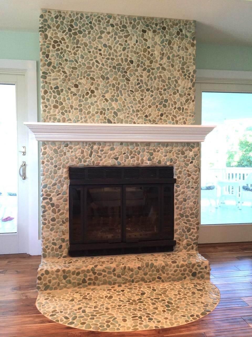 fresh unique glass tiles around fireplace kezcreativecom