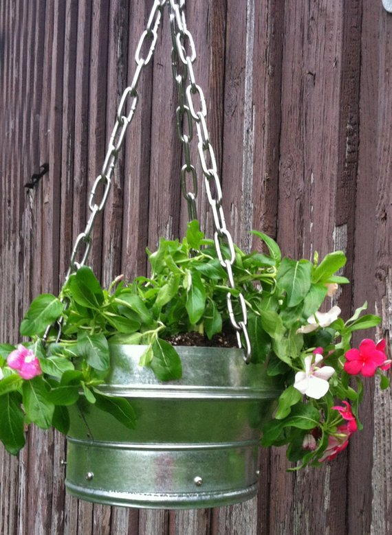 Galvanized Modern Industrial Hanging Planter By Frizzbebo Medium