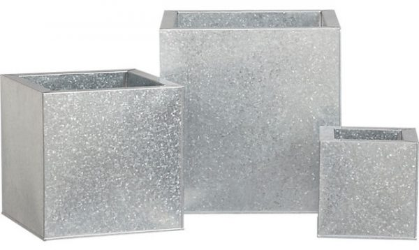 Galvanized Square Planters Modern Outdoor Pots And Medium