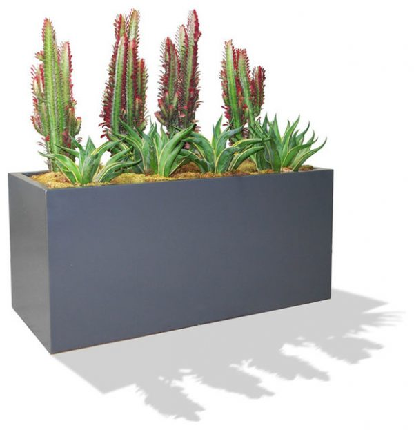 Galvanized Steel Rectangular Planter Modern Miami By Medium