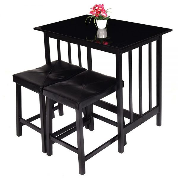 Get 3 Pcs Modern Counter Height Table And 2 Chairs Dining Set Medium
