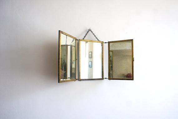 Get Antique French Vanity Mirror    1900 Three Way Mirror Medium