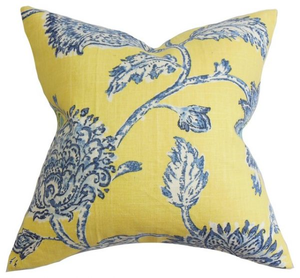 Get Behati Floral Pillow Blue Yellow 18x18 Traditional Medium