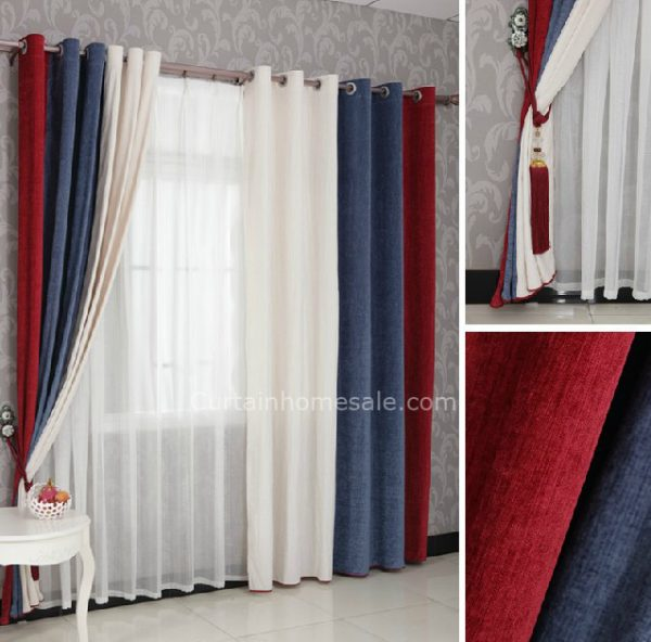 Get Boys Bedroom Curtains In Red Blue And White Combined Medium