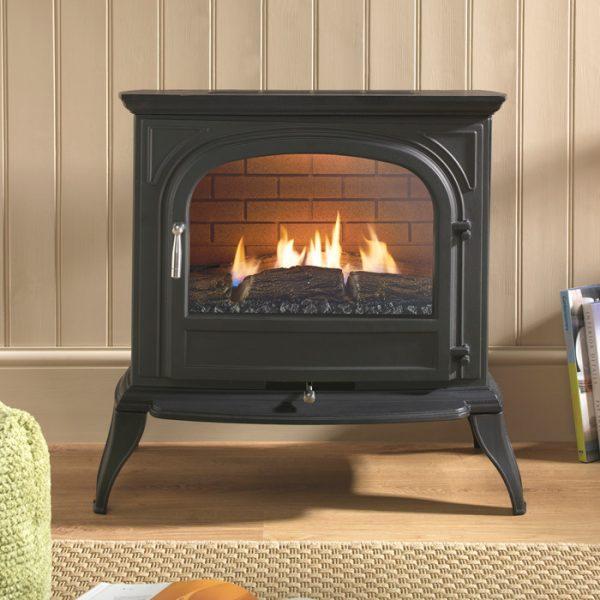 Get Ekofires 6010 Flueless Gas Stove In Black With Plain Door Medium
