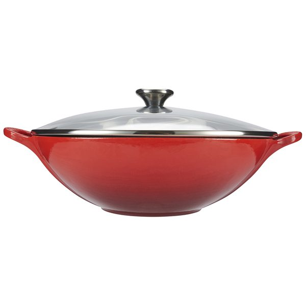 Get Le Creuset Cast Iron Wok With Glass Lid 32cm Cerise Medium